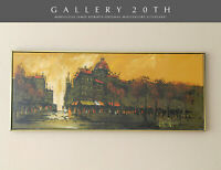 MID CENTURY MODERN CITYSCAPE ORIG OIL PAINTING BY ROBERTS! ART PARIS VTG 1950S