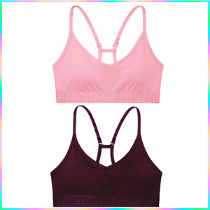Victoria's Secret PINK ULTIMATE Lightly Lined Sports Bra Luscious Plum ²HairTies