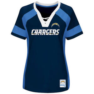 NEW MAJESTIC NFL Team Apparel San Diego Chargers V-Neck Jersey Shirt Womens NWT