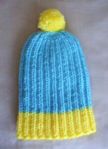 Hand Knit Hat/Beanie - Teal Blue & Yellow cartman like beanie