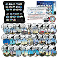 Historic American Lighthouses Colorized U.S. State Quarters 28-Coin Set with Box