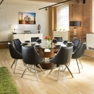 Large Round Glass Top Walnut Dining Table + 8 Black Modern Chairs