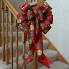"10"" Wide Christmas Bow Red With Green Polka Dots Decoration Wreaths Crafts Gifts"