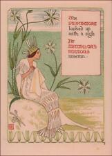 WALTER CRANE SEWING, STITCHING, BATCHELOR BUTTON FLOWER FANTASY antique 1899