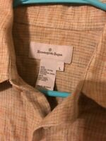 Ermenegildo Zegna Mens Plaid Button Up Shirt Linen Cotton Large