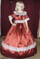 CIVIL WAR DICKENS PIONEER VICTORIAN HALLOWEEN Brown Satin Costume Dress Gown