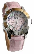 """NEW Womens Marc Ecko UNLTD Watch """"The Lucky"""" Pink Crystal Leather E11532L2 $115"""