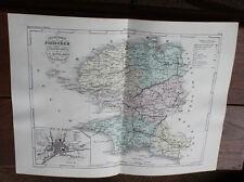 1850 Carte Géographique Atlas époque couleur Département 29 Finistère Quimper