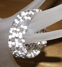 Versatile White + Crystal Glass Beaded Wrap Coil Bangle Bracelet USA Made + Ship