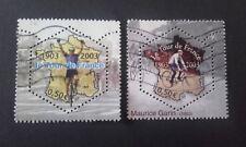 2 TIMBRES COLLECTION COMPLETE CENTENAIRE DU TOUR DE FRANCE 2003 FRANCE