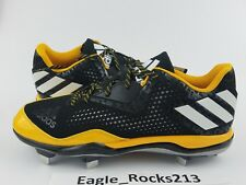 Adidas Men's PowerAlley 4 Baseball Cleats Shoes Black Yellow Gold Size 11.5 New