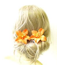 2 x Orange Orchid Flower Hair Pins Vintage Rockabilly Beach Clip 1950s 40s 1270