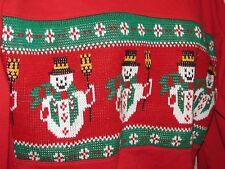 sz Small Vintage Nutcracker RED SNOWMAN UGLY CHRISTMAS SWEATER Sweatshirt