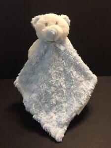 Blankets & Beyond Lovey Blue Rosette Swirl Teddy Bear Security Blanket Pacifier