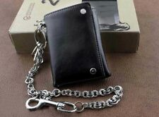 Mens Boys Trifold Leather Biker Trucker Wallet With A Long Metal Key Chain Gift