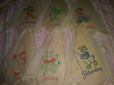 Set/6 Child's Days of the Week Printed Hankies/Handkerchiefs-No Sunday-Animals