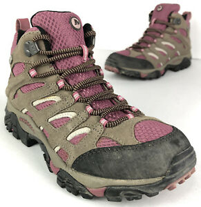 Merrell Moab Mid Waterproof Hiking Boots Women's 7.5 EUR 38 Lace Boulder/Blush