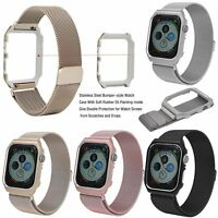 Milanese Stainless Steel Band Strap w/Frame Case for Apple iWatch 4 40mm 44mm