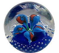 Wheaton Village Tony DePalma Signed TD Blue Flower Bullicante Glass Paperweight