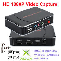 1080P Game Capture Box Video Recorder HDMI YPBPR USB for Xbox 360 One PS 3 PS 4