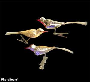 3 Vintage Antique German Mercury Glass Christmas Bird Ornaments