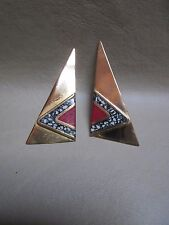 """Moulin Rouge"" Women's Costume Pierced Earring Gold with Red/Black/White Detail"