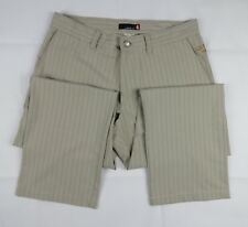 Quiksilver Pinstripe Pants Size 33 Beige Embroidered Free Ship
