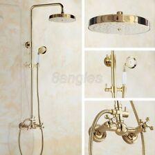 Luxury Gold Color Brass Bathroom Shower Faucet Set Dual Handles Mixer Tap 8gf335