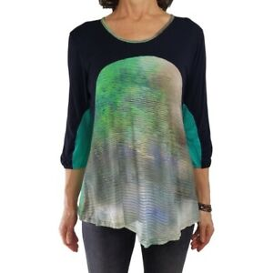 LIOR PARIS M/L blue green print tunic stretch knit top ¾ slv sharkbite hem