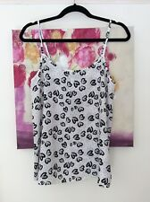 F&F Ivory and Black Heart Chiffon Cami Top, UK Size 12 Immaculate
