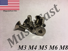 M3 M4 M5 M6 M8 Stainless Steel Hex Drive Flat Head Screw A2 Qty:10,20,50,100pcs