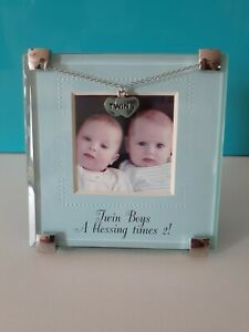 Mud Pie Frame Twin boys blessing times 2! 4.5 high x 4.25 long twins charm *SALE