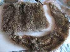 Vintage Matched Set 1930s Silver Fox Genuine Fur Collar & Hand Muff Warmer Purse