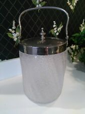 Vintage Silver Plate Frosted Glass Ice Bucket w/ lid & handle Cookie Biscuit Jar