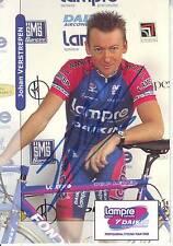 carte cycliste JOHAN VERSTREPEN équipe LAMPRE DAIKIN 2000 signée