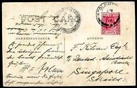 BRITISH CEYLON TO SINGAPORE Circulated Postcard 1910 VF