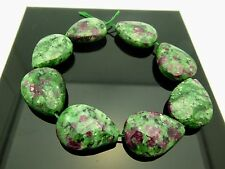 "Ruby Zoisite Faceted Flat Teardrop Pink Green Gemstone 8 Beads 7 1/2 "" Strand"