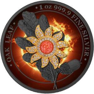 Germania 2019 5 Mark - Oak Leaf - Bejeweled Sun - 1 Oz Silver Coin
