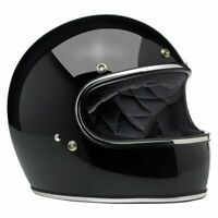 Biltwell Gloss Black Gringo Retro Full Face Motorcycle Helmet with FREE GOGGLES!
