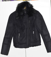 BNWT womans Size 12  UK  New Look, coat zip, WOOL,  fur balck RRP £44.99 suedett