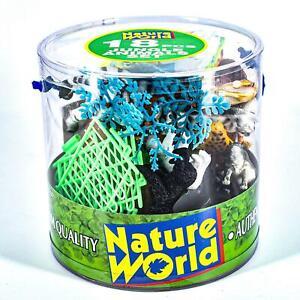Plastic Nature World Jungle Wild Animals 18 Pcs Set In Tub For Children Playset