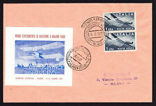 Italian Experimental Aviation poster stamp Philatelic cover 1947 to Milan Italy