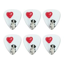 Border Collie Dog Heart Valentines Love Novelty Guitar Picks Medium - Set of 6