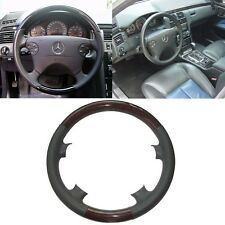 Gray Leather Wood Steering Wheel Cover Benz 00-02 W210 E 320 97-02 C208 W208 CLK
