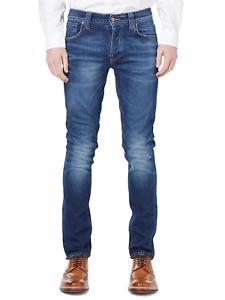 Factory Seconds Nudie Mens Slim Fit Stretch Denim Jeans  Grim Tim Cold Crisp