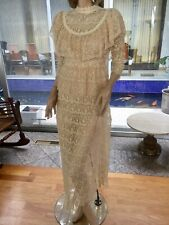 Lim's Vintage Victorian Style High Neck Intricate Lace Maxi Dress Size M Natural