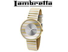 New Women Retro Style LAMBRETTA Cielo Stripes Gold Leather Watch 2105GOL Gift