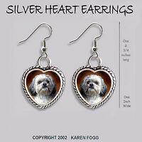 LHASA APSO DOG Sweet Face SILVER FILIGREE EARRINGS Jewelry