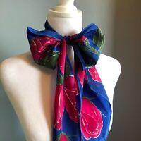 "60"" Vera Neumann Rose Blue Thin Scarf Tie Bow Belt Silky Romantic"
