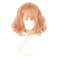 Lolita Peach Pink Short Wavy Harajuku Anime Cosplay Wig Full Hair COS Props Girl